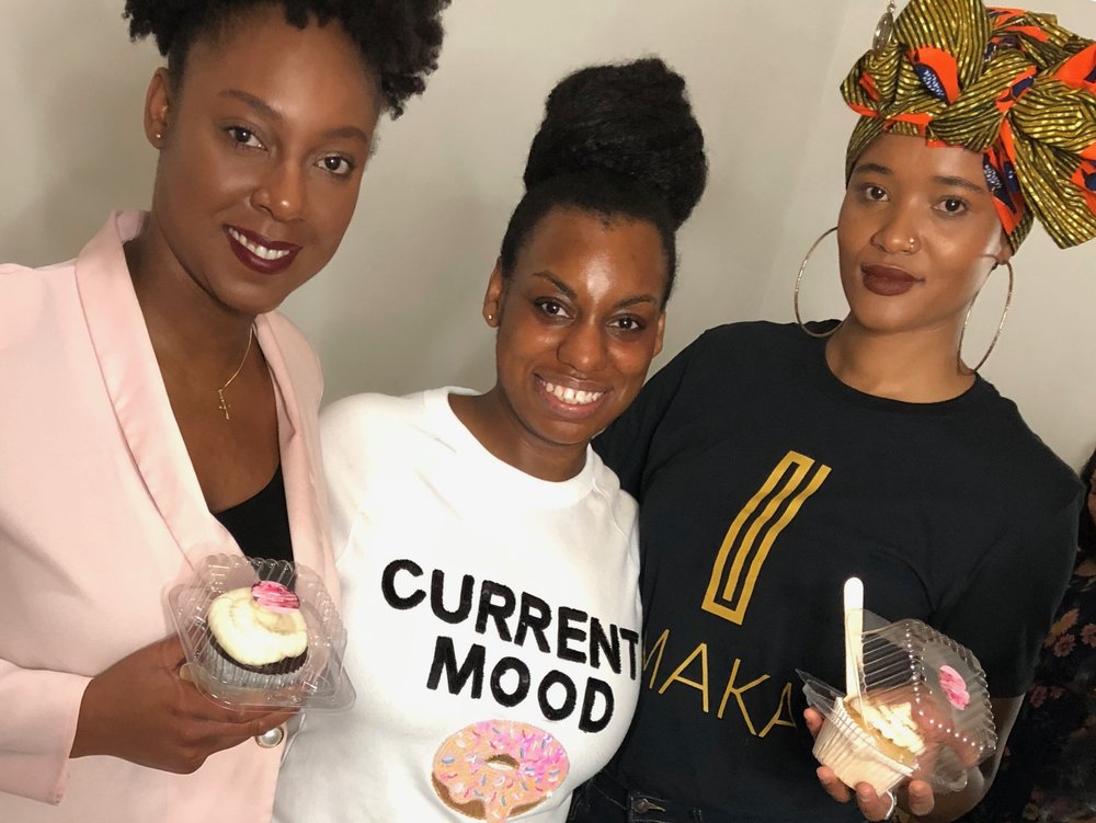 Trennece Matlock (center) with new customers at a Black Girls Who Collaborate Networking event.