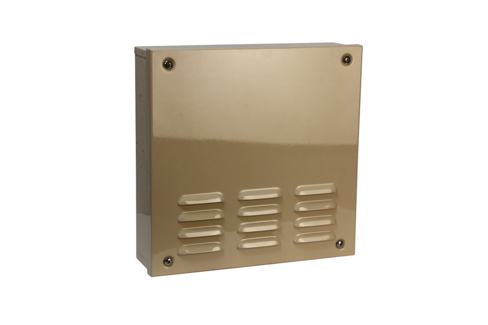 "#1010 Series Bell Box / Non—Hinged   Overall dimensions 14 x 14 x 4"" 18 ga electro—galvanized steel Individual weight 16 lbs Master carton 16 x 16 x 9"" Gloss beige powder coating  With 12v 10"" burglar bell & plunger type Tamper switches installed / stainless screws included"