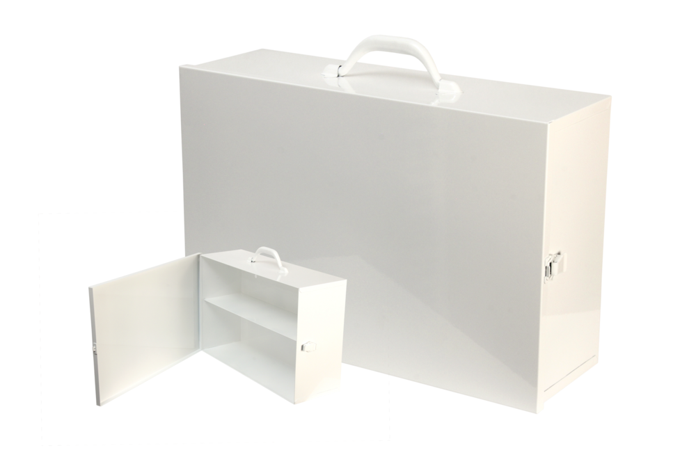 "#126 Unit First Aid Cabinet (2 Shelf) Custom Wide / Swing-out Door   Inside dimensions 18 x 12 x 5 1/2"" Top shelf spacing 5 1/2"" 20/22 ga steel / individual weight 9 lbs Individual carton Max QTY per 40 x 48"" pallet—56 Gloss white powder coating"