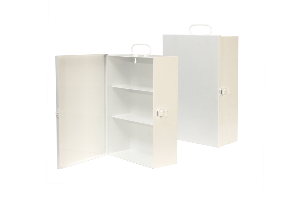 "#131 First Aid Cabinet / Mini-Three (3 Shelf)   Inside dimensions 10 1/4 x 14 3/4 x 5 1/2"" Shelf spacing top to bottom 4 1/2""—4 1/2""—5 3/4"" 20 ga steel / individual weight 8 lbs Individual carton Max QTY per 40 x 48"" pallet—96 Gloss white powder coating"