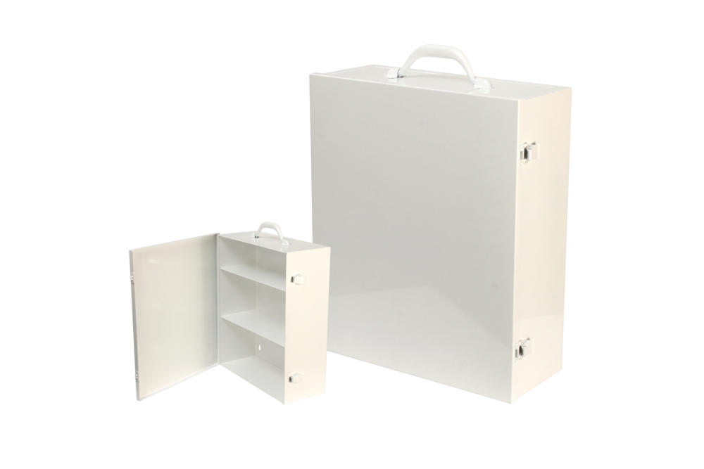 "#151 First Aid Cabinet (3 Shelf)   Inside dimensions 13 1/2 x 16 x 5 1/2"" Shelf spacing top to bottom 4""—6""—6 1/8"" 20/22 ga steel / individual weight 10 1/2 lbs Individual carton Max QTY per 40 x 48"" pallet—66 Gloss white powder coating"
