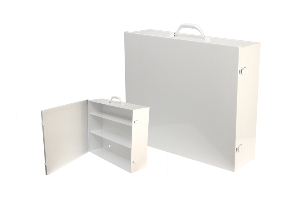 "#151 First Aid Cabinet (3 Shelf) / Custom Wide   Inside dimensions 16 1/4 x 19 x 5 1/2"" Shelf spacing top to bottom 4""—5 3/4""—6 1/4"" 20/22 ga steel / individual weight 12 lbs Individual carton Max QTY per 40 x 48"" pallet—44 Gloss white powder coating"