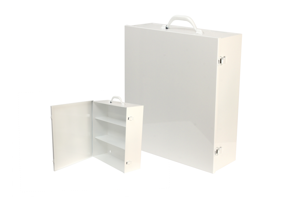"#180 First Aid Cabinet (3 Shelf)   Inside dimensions 15 x 17 x 5 1/2"" Shelf spacing top to bottom 5""—6""—6"" 20/22 ga steel / individual weight 10 1/2 lbs Individual carton Max QTY per 40 x 48"" pallet—60 Gloss white powder coating"