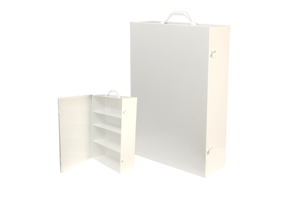 "#156 First Aid Cabinet (4 Shelf)    Inside dimensions 14 7/8 x 21 3/4 x 5 1/2"" Shelf spacing top to bottom 5 3/8""—4 1/2""—5 3/4""—6 1/8"" 20/22 ga steel / individual weight 14 1/2 lbs Individual carton Max QTY per 40 x 48"" pallet—44 Gloss white powder coating"