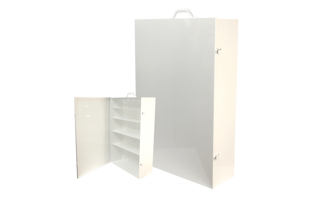 "#181 First Aid Cabinet (5 Shelf)    Inside dimensions 19 x 27 3/4 x 6 1/2"" Shelf spacing top to bottom 4""—4 1/4""—5 3/4""—5 3/4""—8"" Individual weight 27 lbs 20 ga steel / individual carton Max QTY per 40 x 48"" pallet—16 Gloss white powder coating"