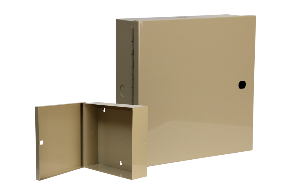 "#UC100 Utility Cabinet    Overall dimensions 11 x 11 x 3 1/2"" 20 ga steel / individual weight 5 lbs Gloss beige powder coating"