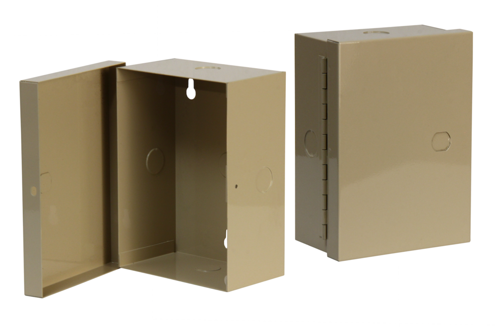 "#UC100-2 Utility Cabinet    Overall dimensions 5 x 7 x 3"" 20 ga steel / individual weight 2 1/2 lbs Gloss beige powder coating"