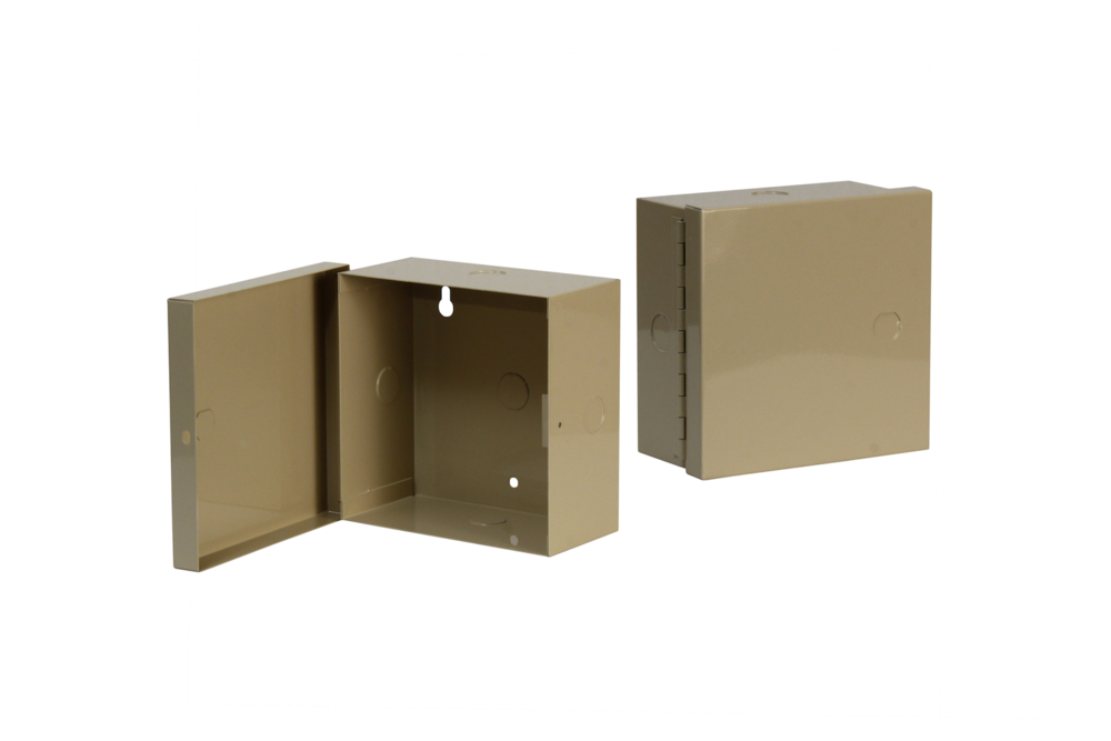 "#UC100-3 Utility Cabinet    Overall dimensions 6 x 6 x 3"" 20 ga steel / individual weight 2 lbs Gloss beige powder coating"