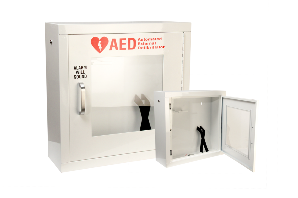 "#130 AED Alarm Cabinet   Outside dimensions 20 x 20 x 7"" 20 ga steel / individual weight 20 lbs Acrylic window 11 x 11 x 1/8"" Individual carton Max QTY per 40 x 48"" pallet—24 Gloss white powder coating  Window / pull handle / alarm+battery included"