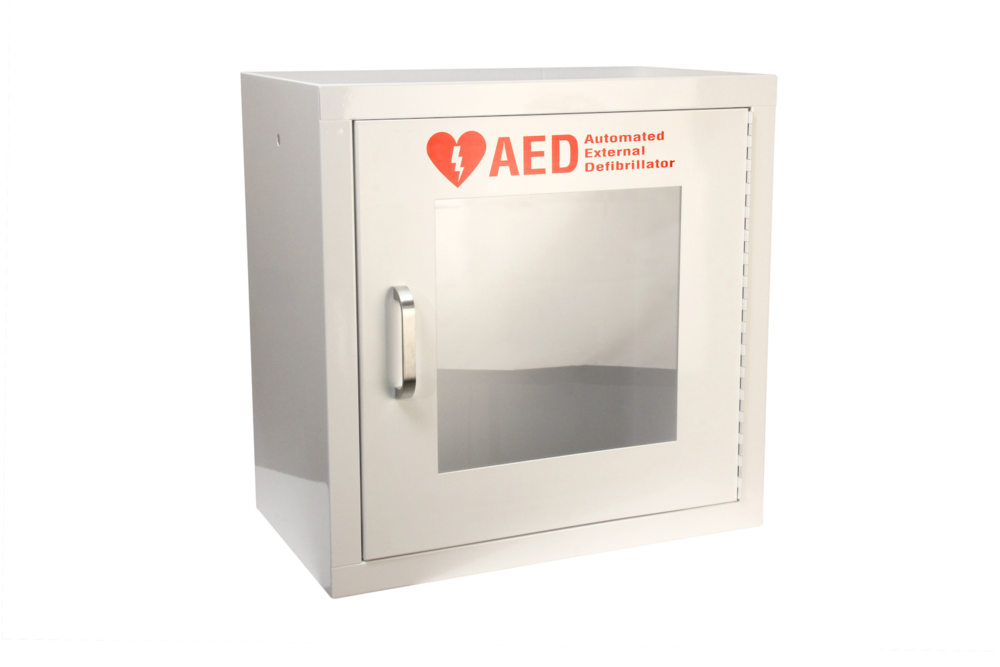 "#140 AED Alarm Cabinet   Outside dimensions 20 x 20 x 12"" 20 ga steel / individual weight 24 lbs Acrylic window 11 x 11 x 1/8"" Individual carton Max QTY per 40 x 48"" pallet—15 Gloss white powder coating  Window / pull handle / alarm+battery included"