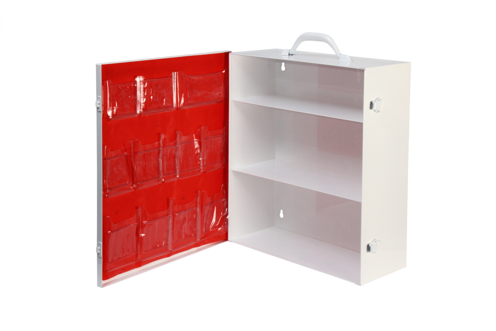 Door Pocket / 3 Shelf Cabinet / Red   3 rows / 12 pockets / No tape  Shown on #151 cabinet Install optional