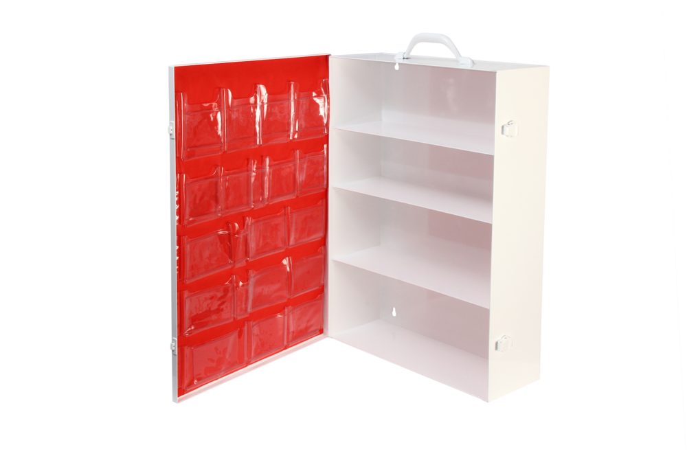 Door Pocket / 4 Shelf Cabinet / Red   5 rows / 20 pockets / No tape  Shown on #156 cabinet Install optional