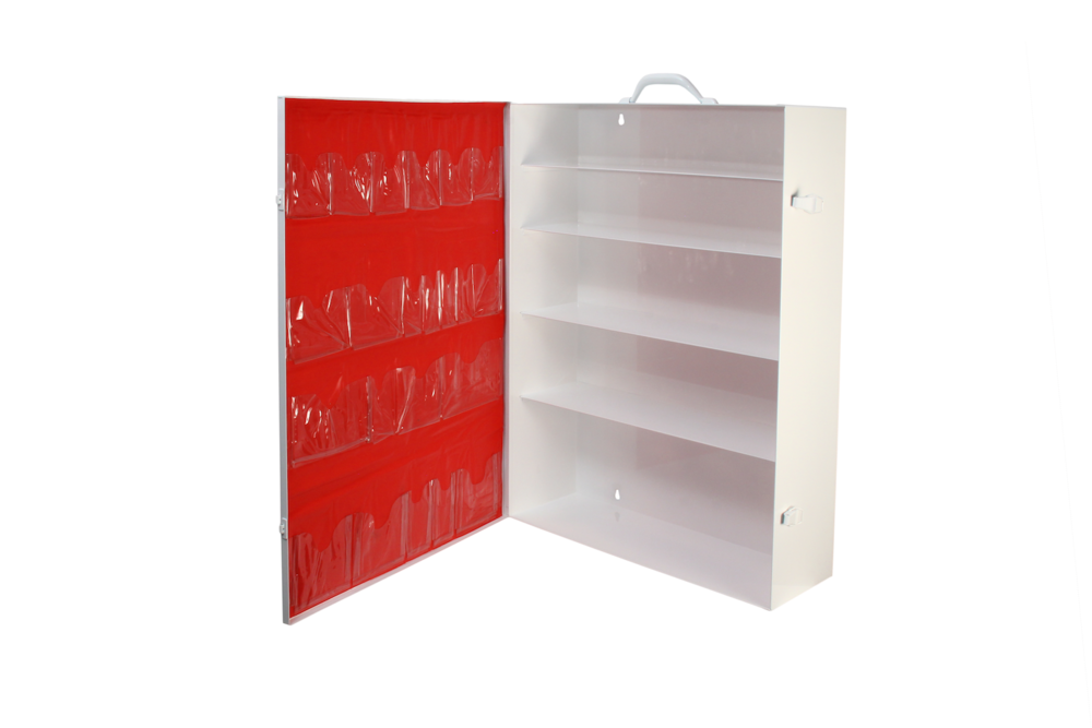 Door Pocket / 5 Shelf Cabinet / Red   4 rows / 22 pockets / No tape  Shown on #181 cabinet   Install optional