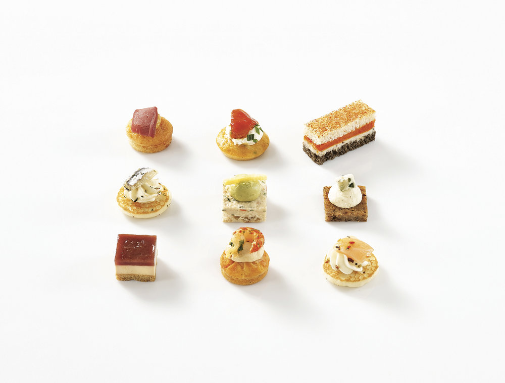 Just in ! - Our large selection of salted canapés are now available as part of our catering services.We also have sweet options, get in touch for more information.