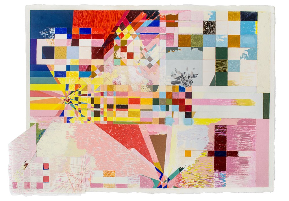 """into the arcane of animation 2, 2013, Gouache, Mylar, Tissue & Pencil on Paper, 24""""x32"""""""