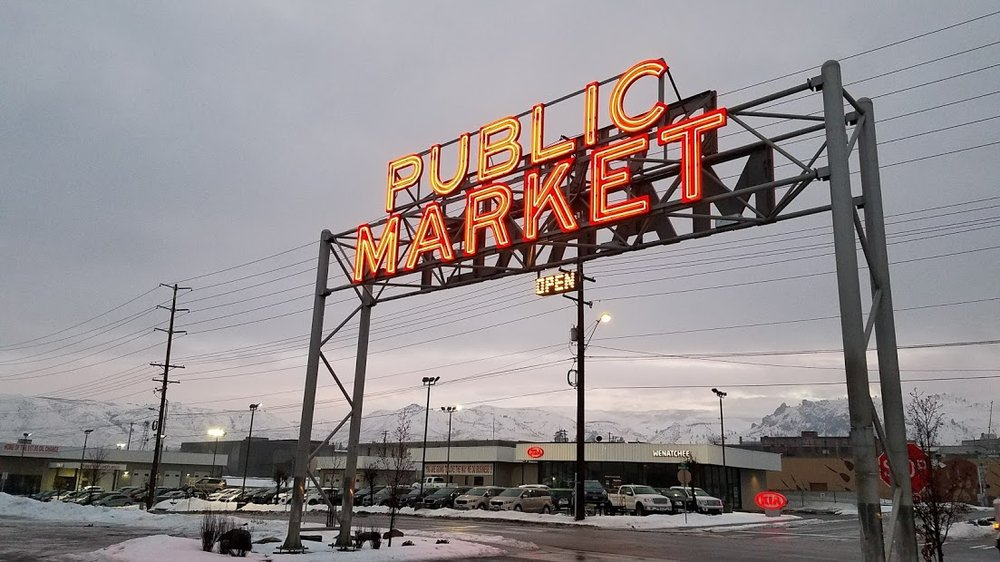 Pybus Market - Wenatchee  - Pybus Market is truly a shopping and dining gem.  In the summer, farmers markets take place on Saturday mornings.  The rest of the year the market houses shops and restaurants and hosts various events throughout the year.   A great place to grab a gift of lunch.  Located so close to the paved loop trail mean you can take a walk to the sculpture garden after you grab a bite.