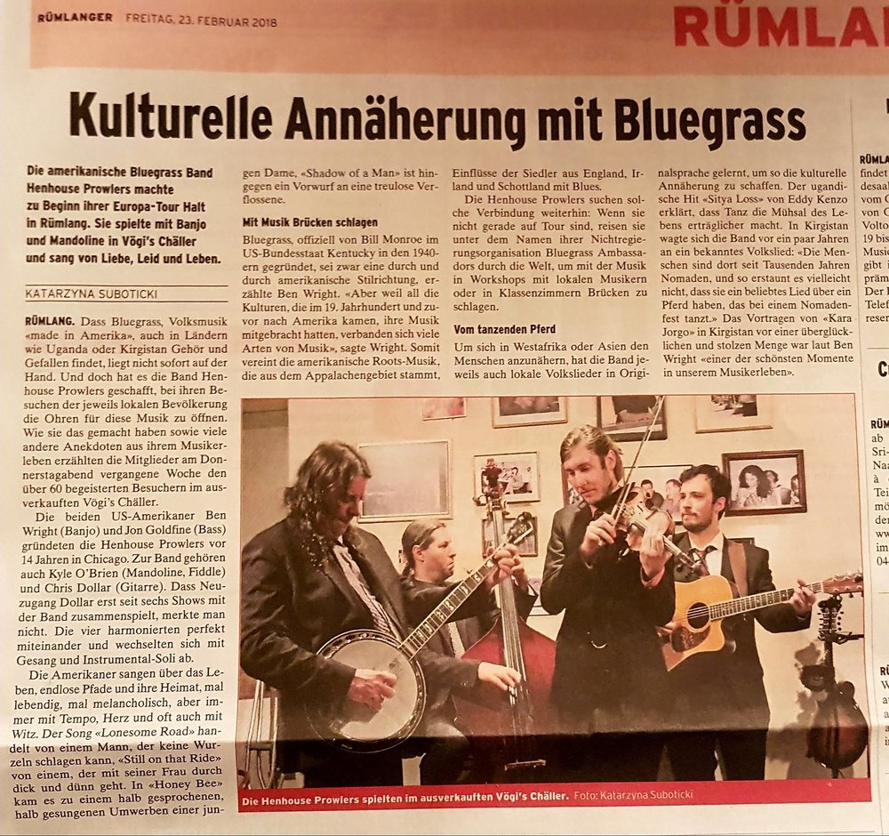 Article in the Zurich paper about our first show of the tour.