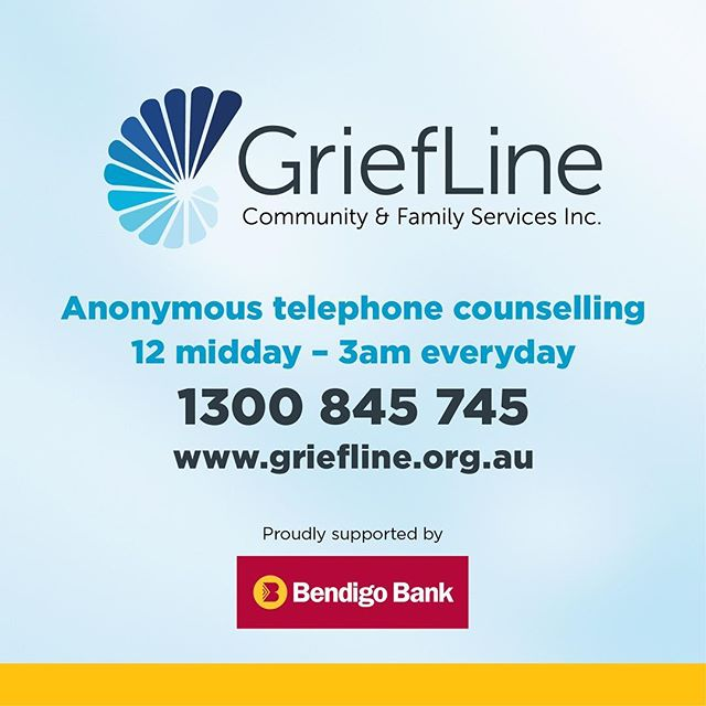With the support of Bendigo Bank, I'm helping the folks at Griefline promote their telephone and online counselling services. Griefline are there for people dealing with loss, grief and isolation - at any stage in life. All calls to their helpline are anonymous and free. 1300 845 745.