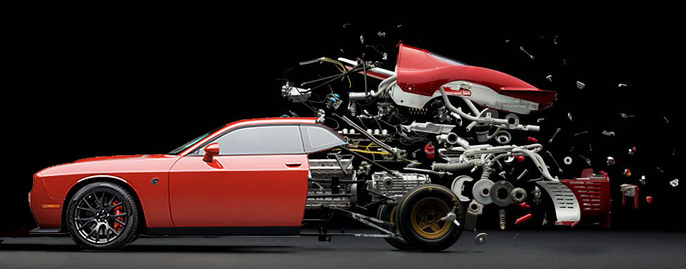 An installation featuring an exploded Hellcat, showcasing every last detail that makes this car a work of art.