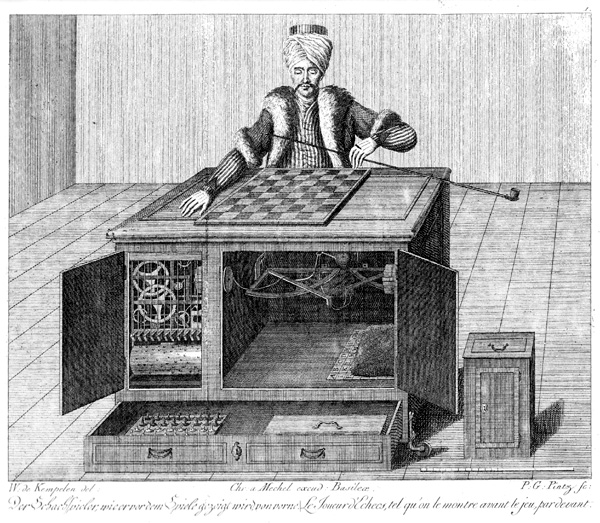 "Engraving of the original mechanical turk, the 18th century ""automaton"" chess player."