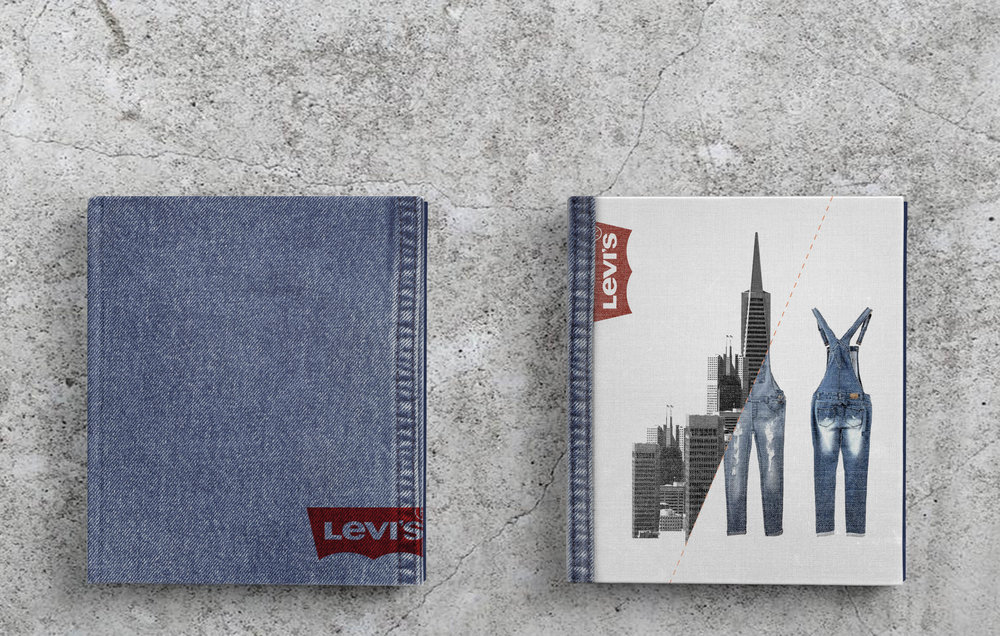 IT all started with a dream - The assignment was to pick a suitable company and create a promotional piece of our own choice  for them. What we created could vary in form depending on what made sense for the company and our own image of the brand. I chose Levi Strauss & Co. because it is a San Francisco based apparel company that has a rich historic connection to the city itself. My concept was based on this rich history and around Levi's being the original producer and inventor of jeans. The finished piece became a mix between a display of the lifestyle Levi's promotes and an homage to the city of San Francisco. I wanted to make the book feel like the city. I made use of the blue color of the denim and the red color of the Golden Gate bridge, which is also what Levi's are doing. CATEGORYPromotional