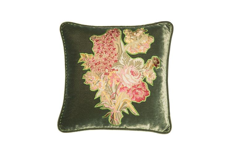 Velvet cushion with bouquet applique u2014 alpaq studio