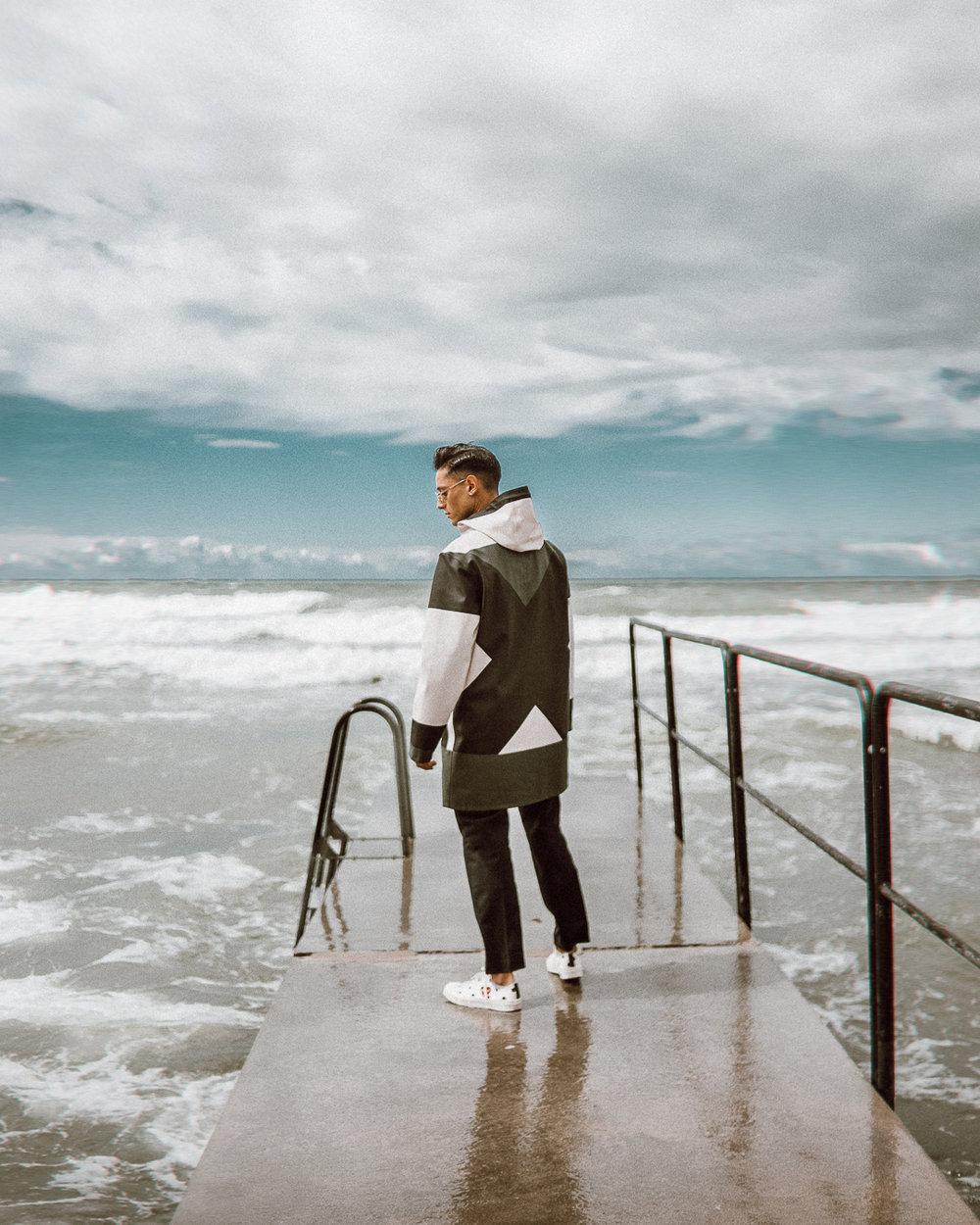 ◎ Wearing Henrik Vibskov X Stutterheim raincoat