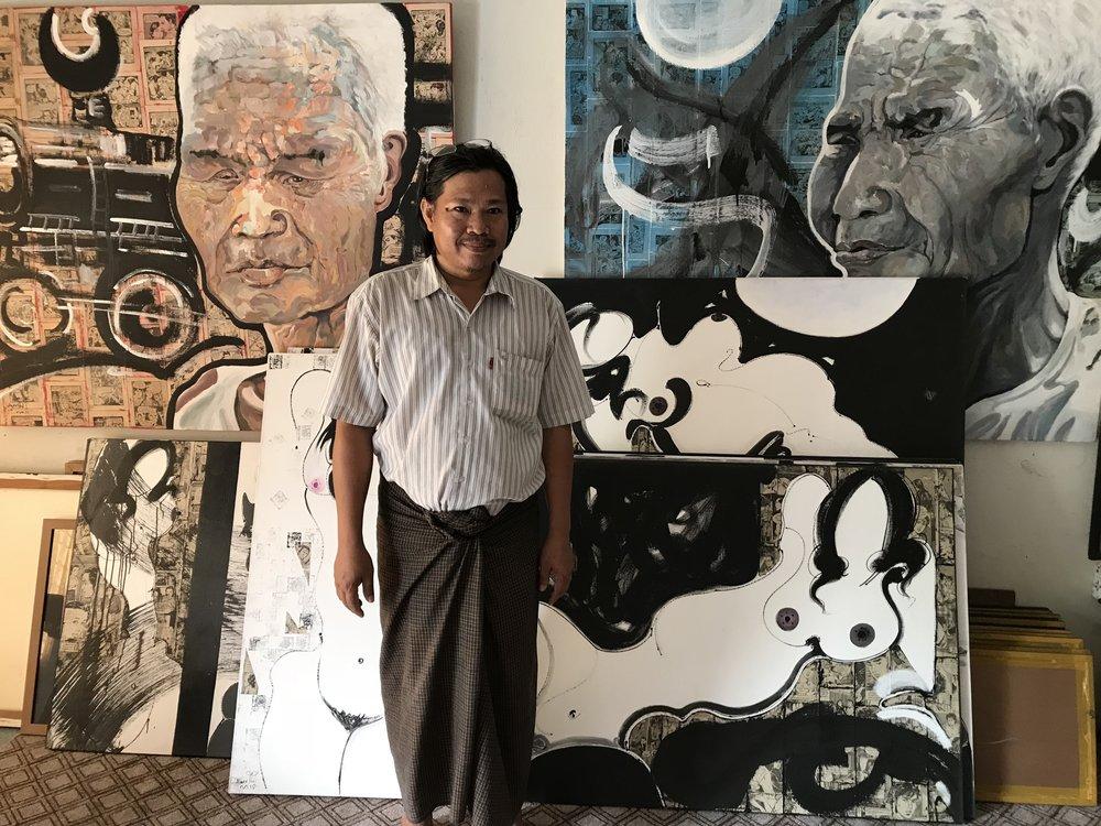 Hein Thit - in his studio in yangon