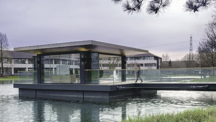 The floating conference room at Arlington Business Park