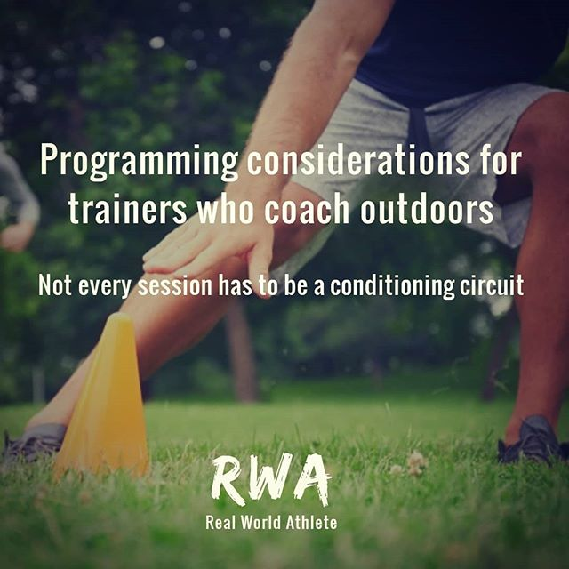 If you train or coach outdoors, your sessions needn't be limited to run of the mill conditioning circuits. The rules of progressive overload or periodised blocks of training should still apply, yet they're rarely followed by coaches who work outside of a gym environment. So without further ado here are some tips to separate you from the crowd: _______________  1) Periodise the program in accordance with the seasons: This method of periodisation simply requires a little common sense... Training modalities such as sprinting and plyometrics are difficult and dangerous to perform in wet, muddy conditions. So use the winter months to develop hypertrophy and strength qualities. Then in the warmer / drier months, switch to prioritising qualities such as speed, power and agility. Obviously if the client starts training with you in June for example, you will still need to run a few weeks of general preparation before honing in on specific qualities. _______________  2) After you have tested for any dysfunctions, weaknesses and muscular inhibitions, take the time to plan each workout in advance so that you and the client enter each session with a clear objective. (As you would hopefully do if you were training in a gym) 1. Create an appropriate plan 2. Show and explain the plan to the client 3. Implement the plan accordingly. _______________  3) Inducing progressive overload by increasing the weight each week is virtually impossible when training outdoors due to having limited equipment. But progressive overload can still be achieved with the use of contrast methods, slow eccentrics, isometrics, compound sets, giant sets, pre exhaust methods and plenty more if you use your initiative. _______________  4) Use a wide variety of training equipment. A 20kg medicine ball is way more difficult to lift than a 20kg kettlebell. Likewise bulgarian bags, power bags, water bags and other odd shaped objects offer different challenges. In addition to varying the equipment, simply changing 