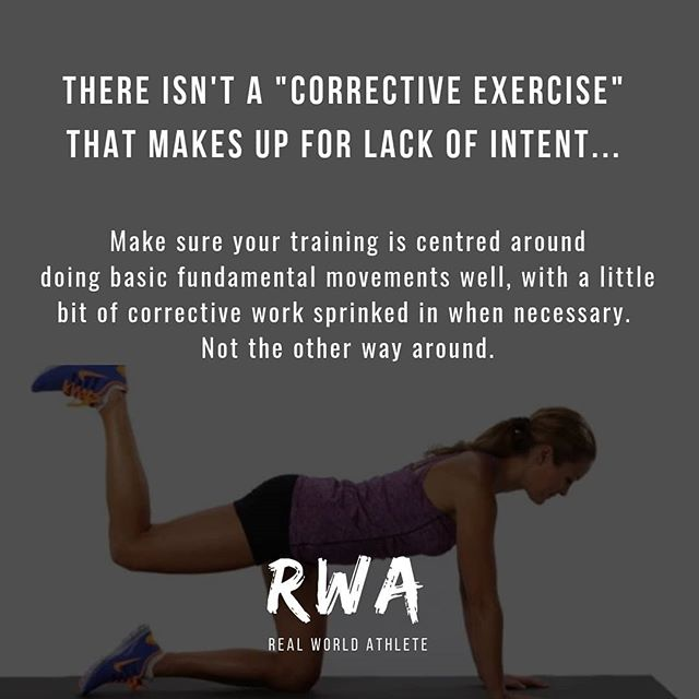 "Corrective exercises are sometimes necessary for isolating underdeveloped muscles that are contributing towards poor posture and compensatory patterns, but they won't make up for lack of intent.  ______________  For example, if your knee's have a tendency to collapse inwards when you squat, then ""corrective exercises"" such as banded shuffles, glute bridges and clams are a useful tool to get your glutes firing a little better... _______________  But they won't improve your ability to squat unless you learn to create tension and stability by bracing your core, anchoring your feet to the floor and pushing your knees out, instead of going through the motions and hoping that everything will magically fall into place. _______________  If the majority of your training programme is predicated on doing corrective exercises, it's likely that you aren't inducing enough stress to stimulate a noteworthy increase in strength and stability, which will ultimately help you move better and maintain better posture.  _______________  The bottom line is that your training should be centered around doing basic fundamental movements well, with a little bit of corrective work sprinkled in when necessary. Not the other way around.  _______________  #realworldathlete #shutupandtrain #correctiveexercise #mobility #movement #posture #injuryprevention #training #athlete #lifestyle #health"