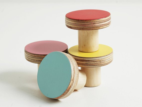 Colourful Wooden Cabinet Handles and Knobs from Etsy