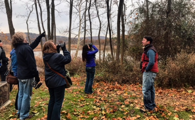 Bird Watchers by the West Point Foundry Preserve Walking a Path with Guide Ryan J. Bass.JPG