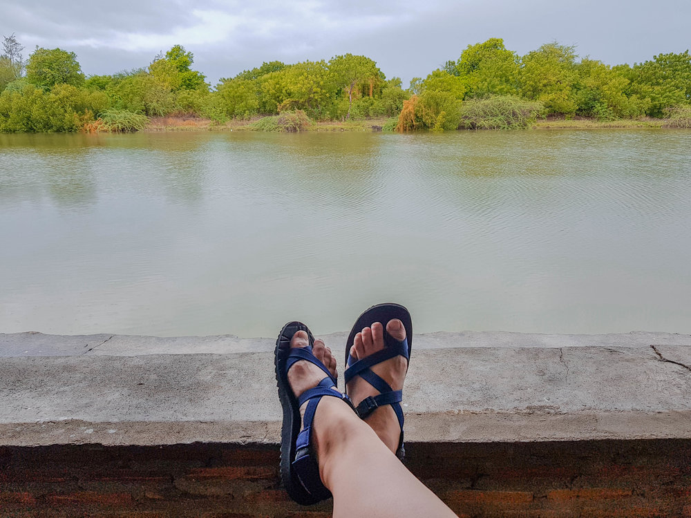 Chilling by the river with my  Wandersoles  on!