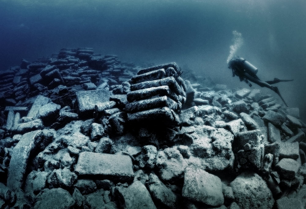 Cement bags litter the wreck of the Constellation, the inspiration for Peter Benchley's film The Deep, Bermuda