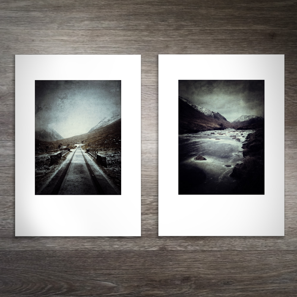 Glen Etive in Winter paired prints