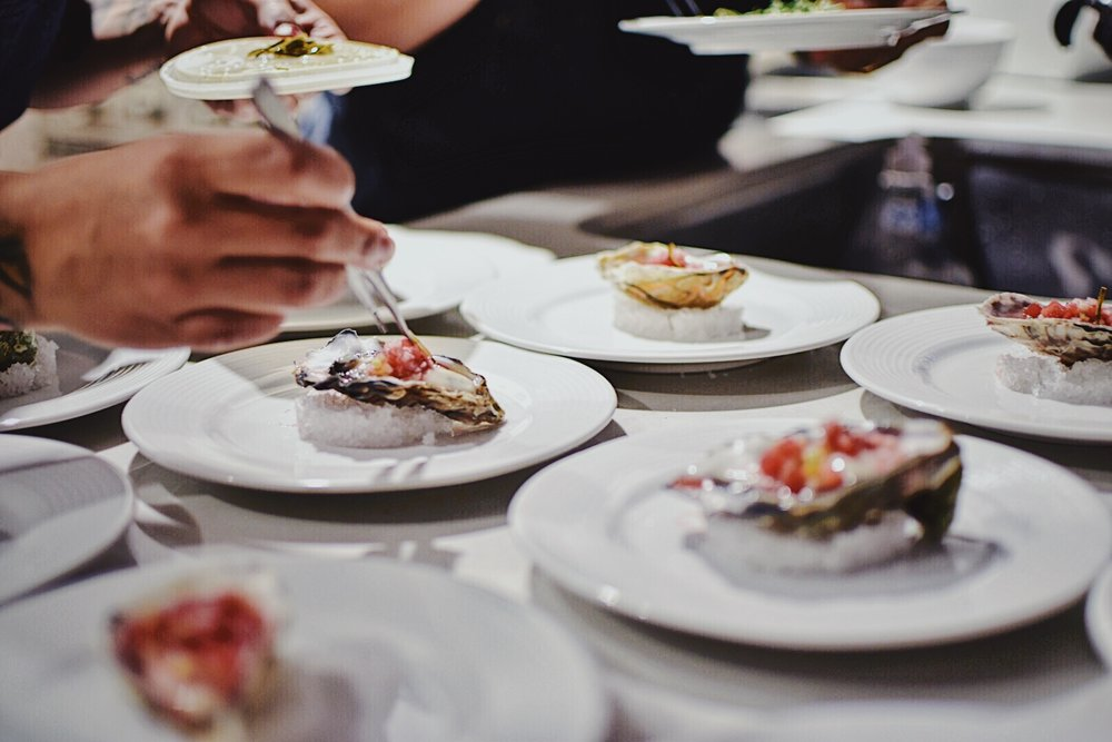 Oysters with Pickled Watermelon Rind, Watermelon Pink Peppercorn Mignonette, and Cucumber by Chef Danielle Duran Zecca