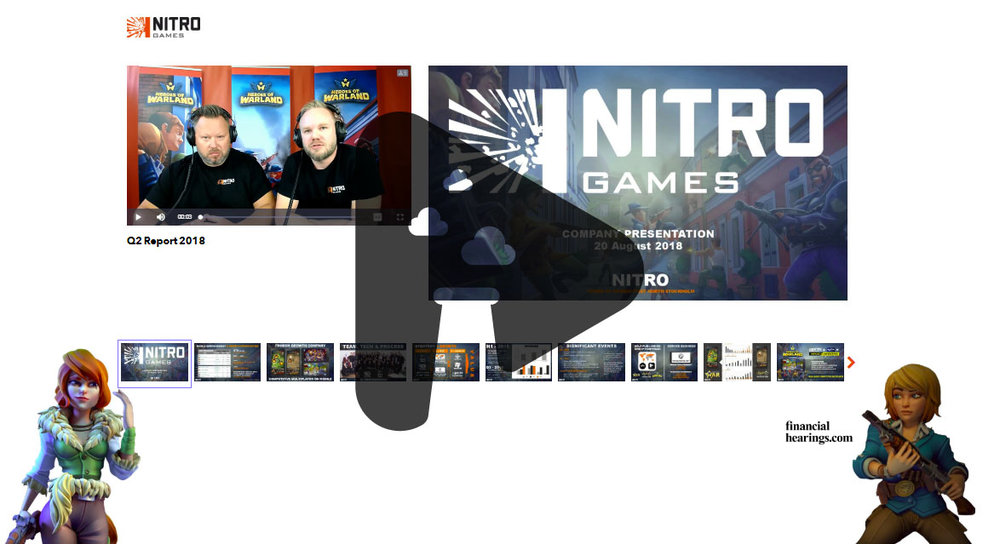 Esimerkki Nitro Games Oyj:n videoneuvottelu-Webcast lähetyksestä