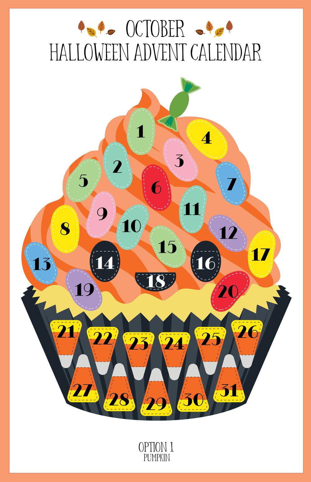 October 2018 Halloween Pumpkin Cupcake Advent Calendar