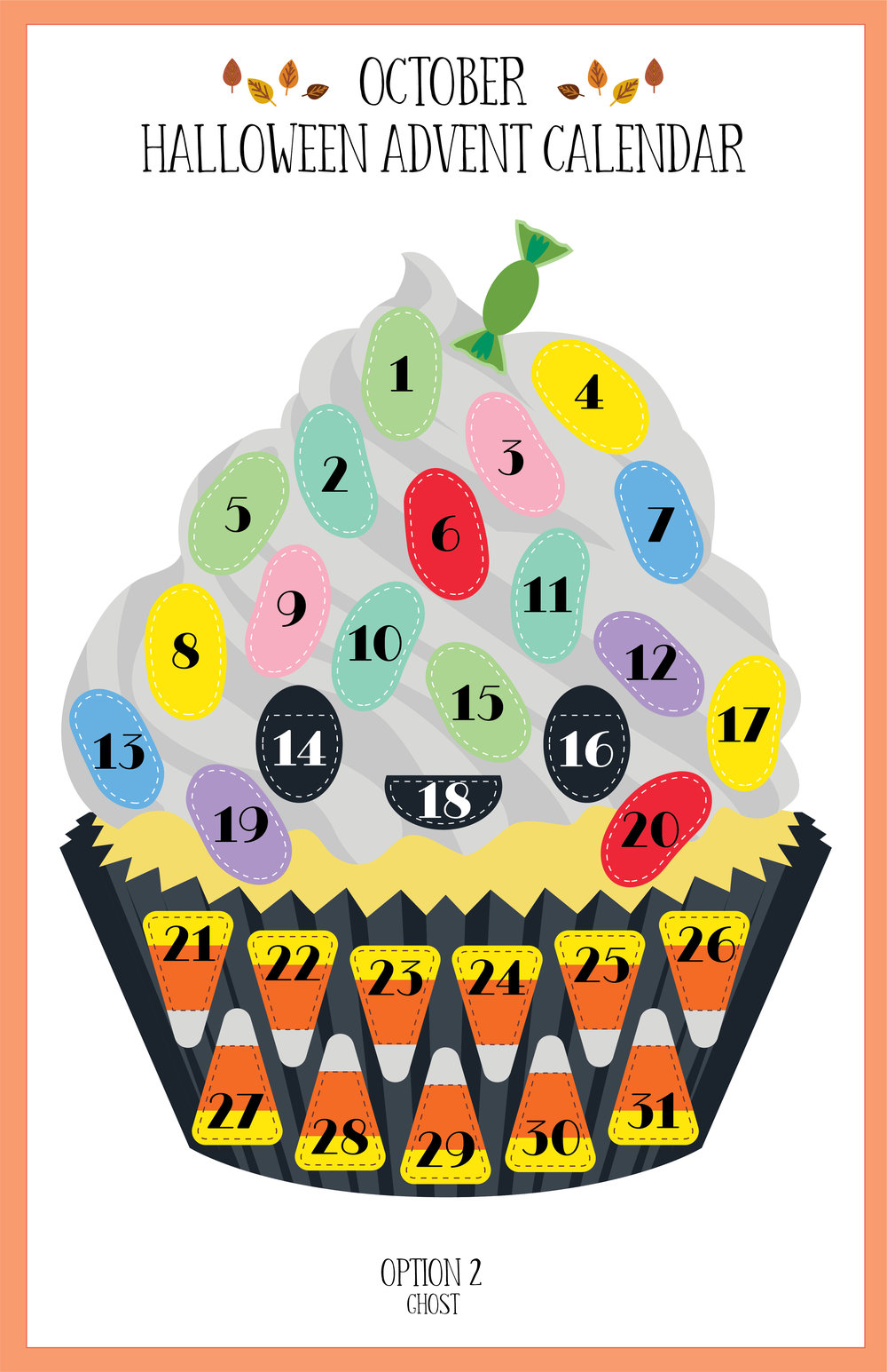 October 2018 Halloween Ghost Cupcake Advent Calendar