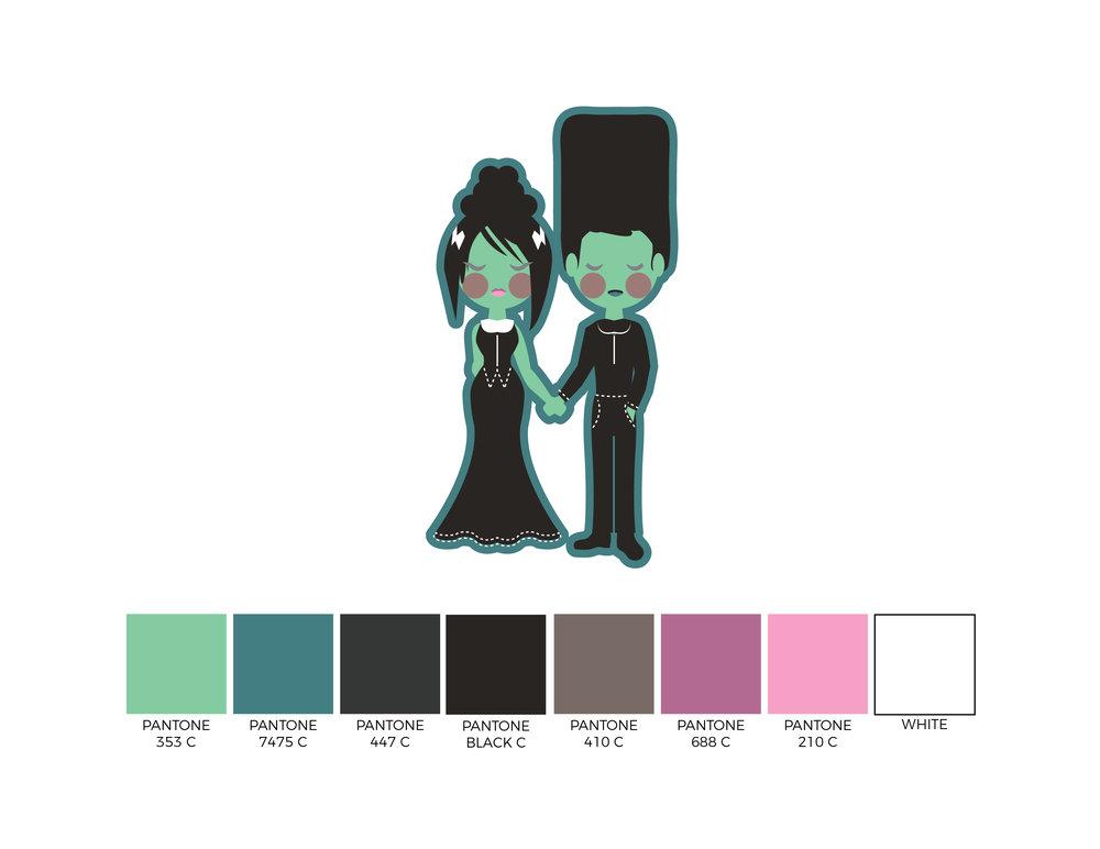 2017 Mr & Mrs Frankenstein Couple Design