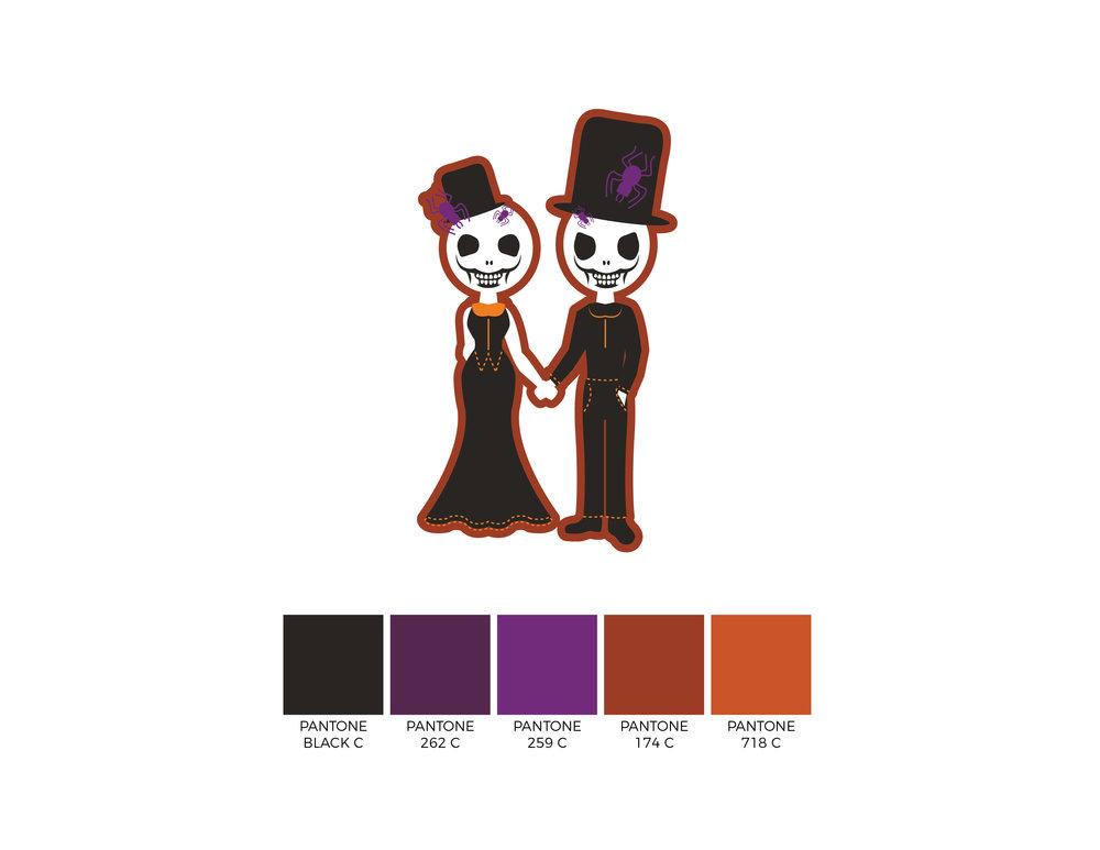 2017 Mr & Mrs Skeleton Couple Design