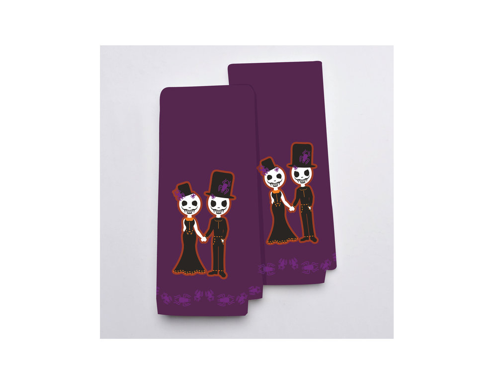 Skeleton Couple Hand Towels