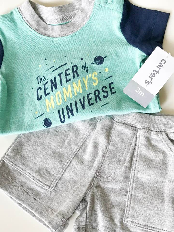 (Brand New!) Carter's Short Sleeve T-Shirt Set - Size: 3-6 MonthsOriginal Price: $24.00Thred Up Price: $10.99OMG GUYS! This set was marked as NWT (new with tags) and I was so excited to add this to my cart. It's marked over 54% off and is the cutest little outfit perfect for the sping time. Love it!