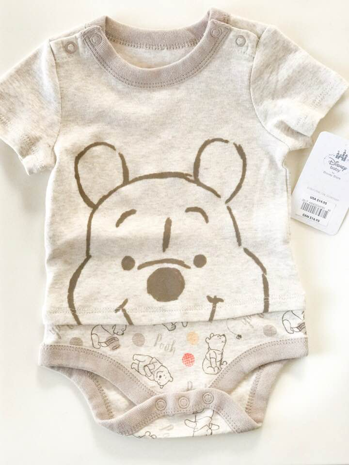 (Brand New!) Disney Baby Short Sleeve Onsie - Size: 3-6 MonthsOriginal Price: $14.95ThredUp Price: $5.99I am a huge disney fan and I absolutely love this onsie from Disney Baby which was new with tags as well. I really like how it's a character outfit minus all of the cheesy colors.