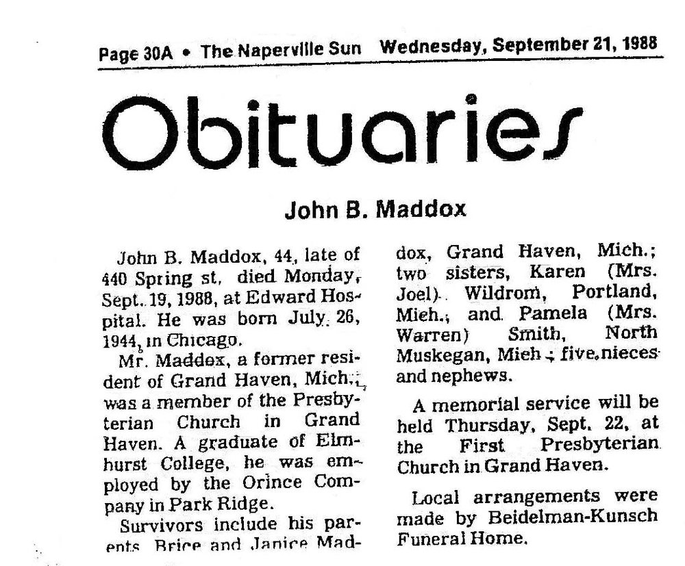 The Obituary of Instructor John Brice Maddox