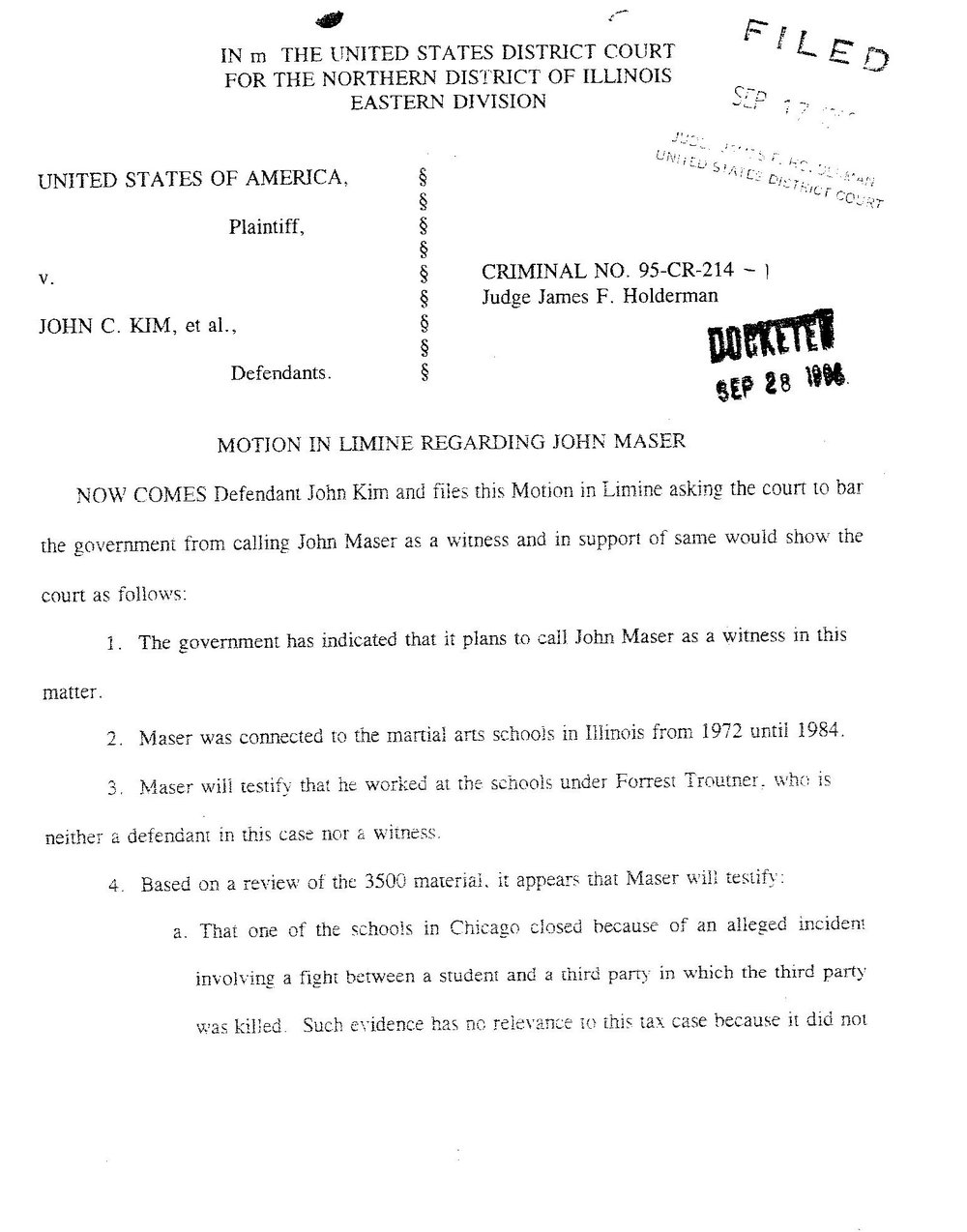United States of AMERICA v. john c. kim  et al...  motion in limine