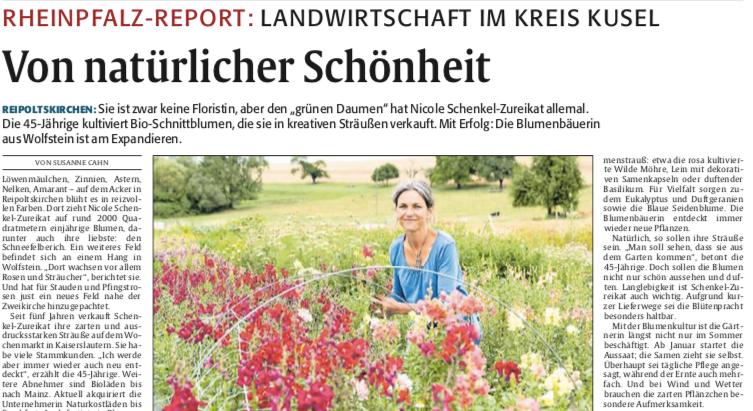 Die Rheinpfalz - 09.08.2017 Blumenbäurin aus Wolfstein expandiert