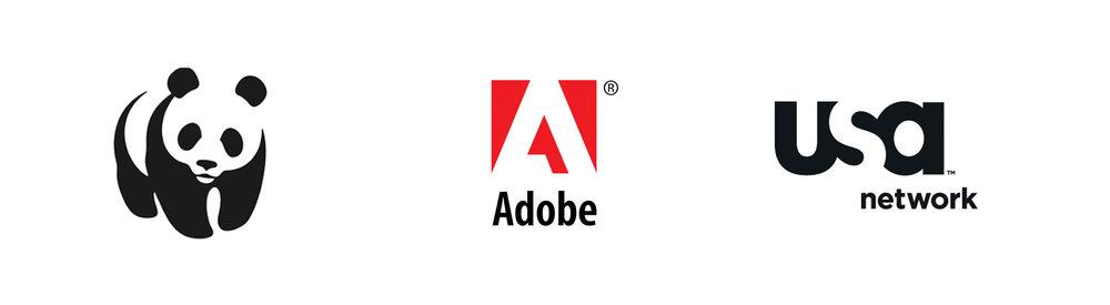 Closure Logo examples: WWF, Adobe, USA Network.