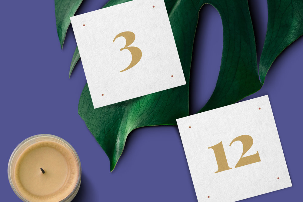 Custom Wedding Day-Of Gold Square Table Numbers on Palm with Candle